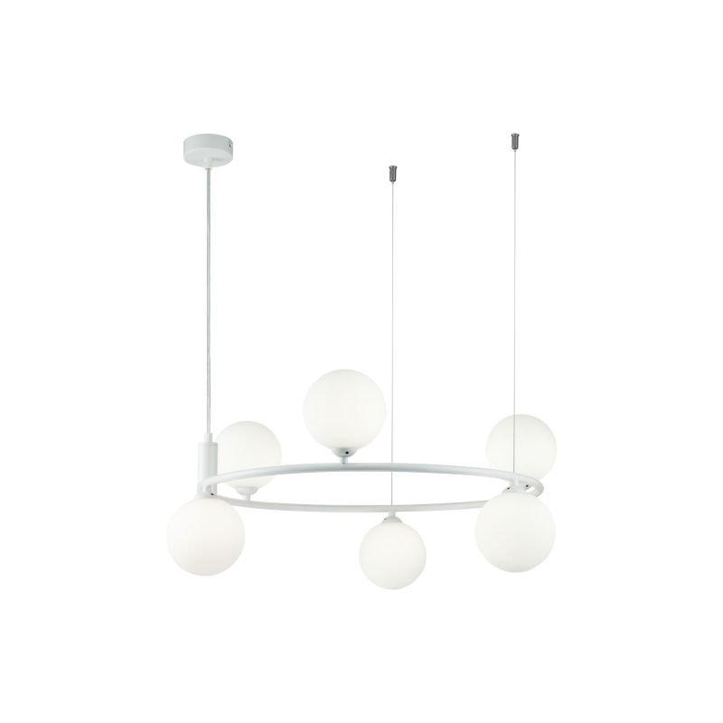 Maytoni-MOD013PL-06W - Ring - White Glass Ball & White 6 Light Centre Fitting