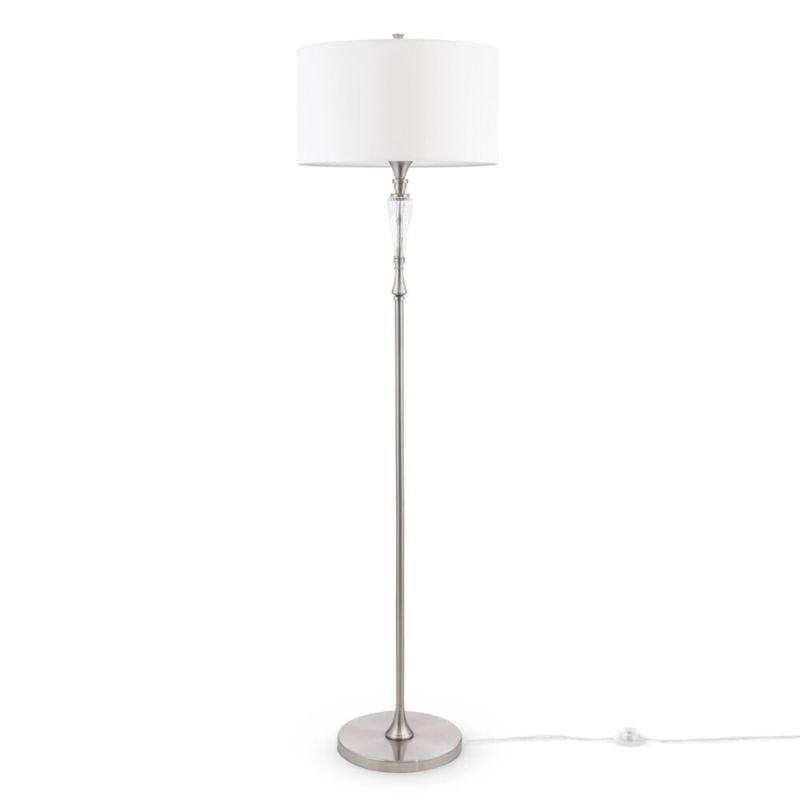 Maytoni-MOD014FL-01N - Alicante - White Shade & Nickel Floor Lamp