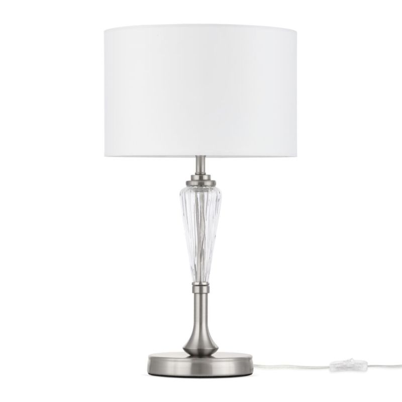 Maytoni-MOD014TL-01N - Alicante - White Shade & Nickel Table Lamp