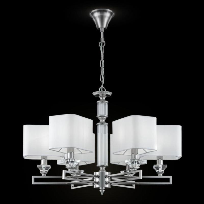 Maytoni-MOD020PL-06CH - Ontario - White Fabric Shade & Chrome 6 Light Centre Fitting