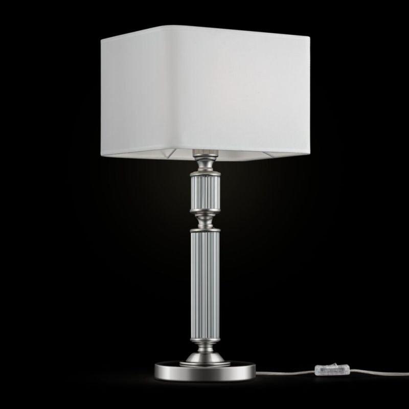 Maytoni-MOD020TL-01CH - Ontario - White Fabric Shade & Chrome Table Lamp