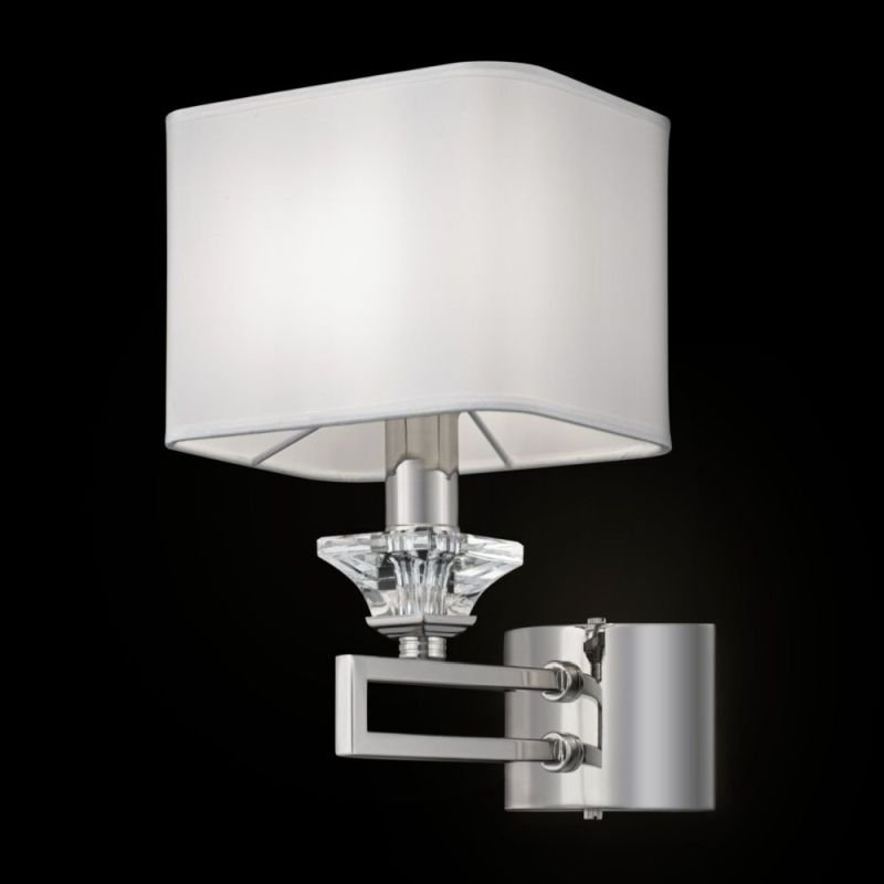 Maytoni-MOD020WL-01CH - Ontario - White Fabric Shade & Chrome Single Wall Lamp