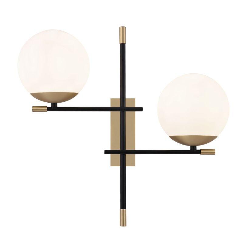 Maytoni-MOD048WL-02G - Nostalgia - White & Black and Gold 2 Light Wall Lamp