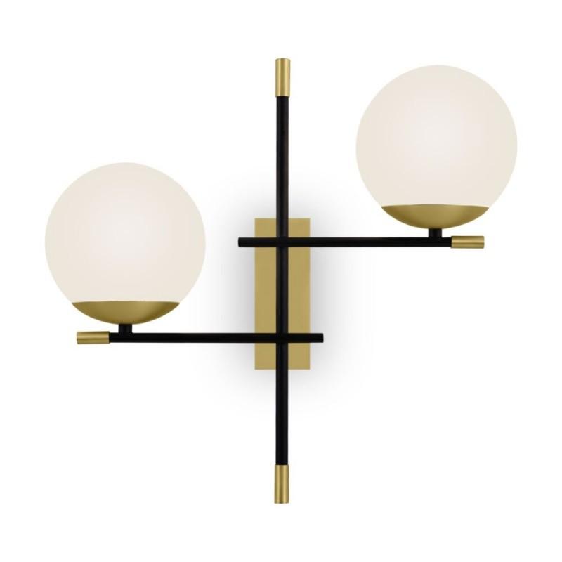 Maytoni-MOD050WL-02G - Nostalgia - White & Black and Gold 2 Light Wall Lamp