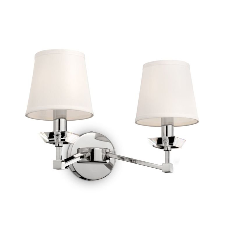 Maytoni-MOD064WL-02N - Beira - White Fabric Shade & Nickel 2 Light Wall Lamp