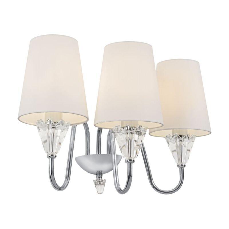 Maytoni-MOD078WL-03CH - Florero - White Fabric Shade & Chrome 3 Light Wall Lamp