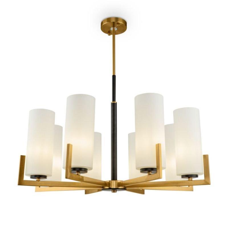 Maytoni-MOD089PL-08BS - Fortano - White Glass & Gold 8 Light Centre Fitting