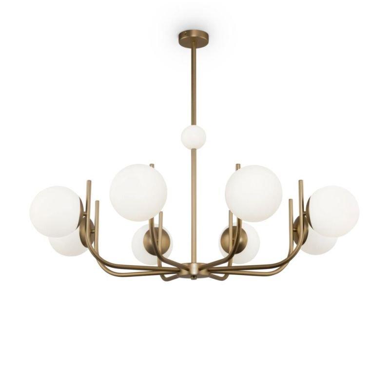 Maytoni-MOD109PL-08BS - Rendez-Vous - White Glass & Gold 8 Light Centre Fitting