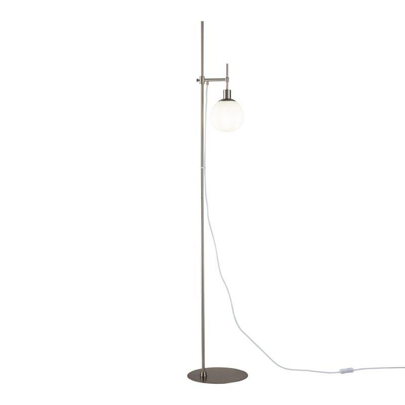 Maytoni-MOD221-FL-01-N - Erich - White Glass Ball & Nickel Floor Lamp