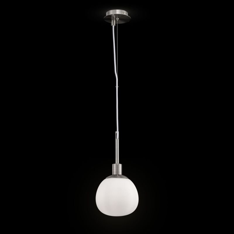 Maytoni-MOD221-PL-01-N - Erich - White Glass Ball & Nickel Single Pendant