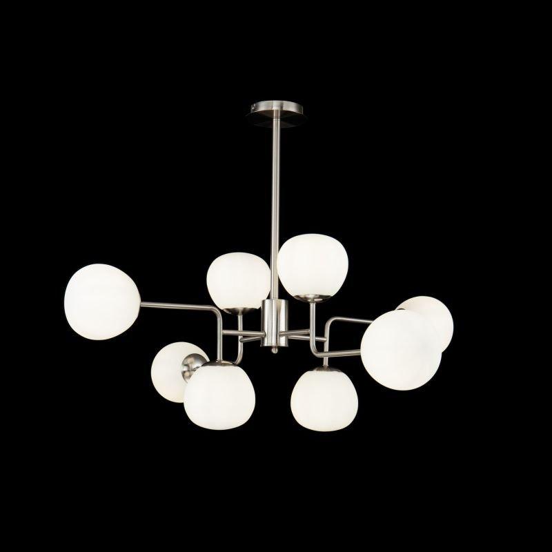 Maytoni-MOD221-PL-08-N - Erich - White Glass Ball & Nickel 8 Light Centre Fitting