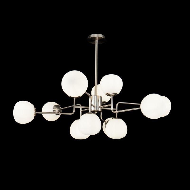 Maytoni-MOD221-PL-12-N - Erich - White Glass Ball & Nickel 12 Light Centre Fitting