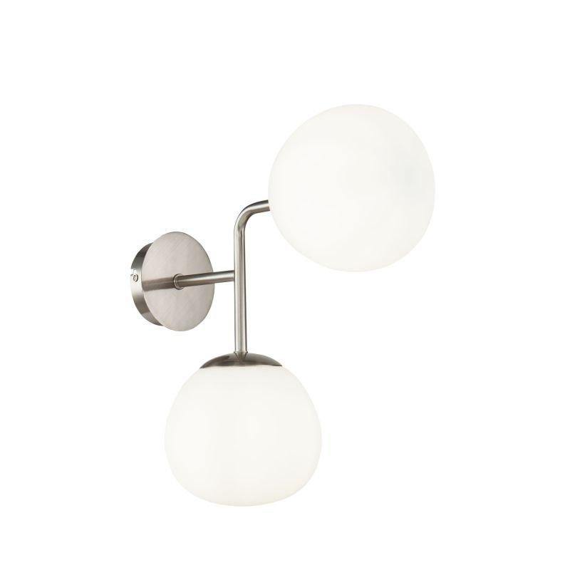 Maytoni-MOD221-WL-02-N - Erich - White Glass Ball & Nickel 2 Light Wall Lamp
