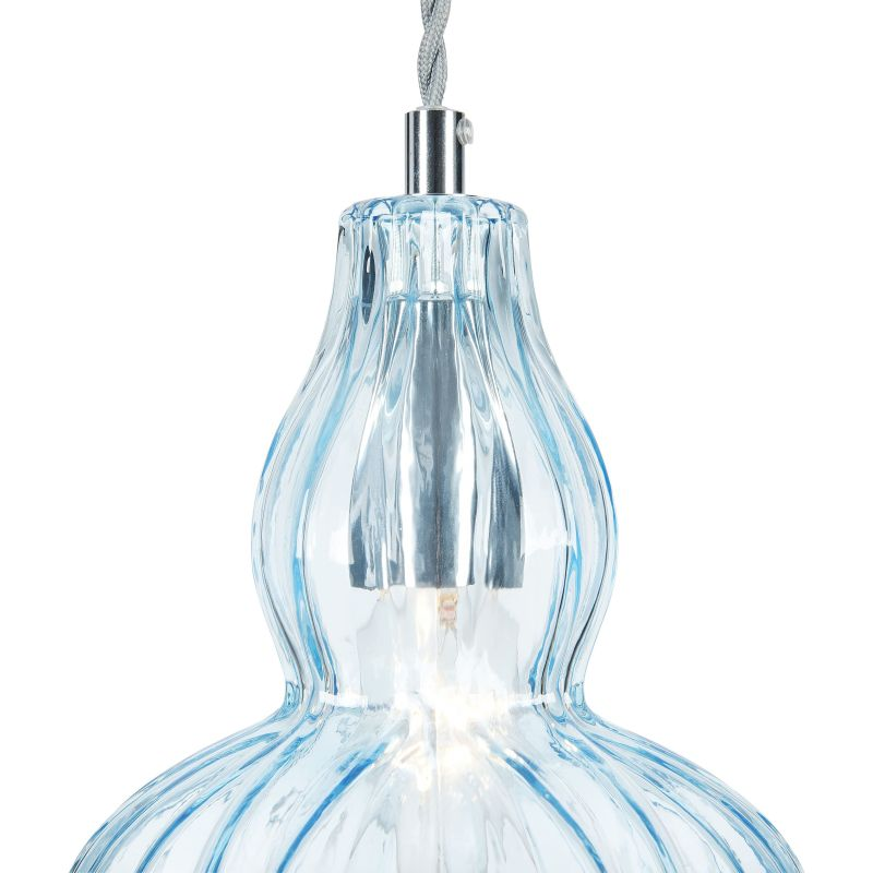 Maytoni-MOD238-PL-01-BL - Eustoma - Light Blue Glass Single Pendant- Nickel