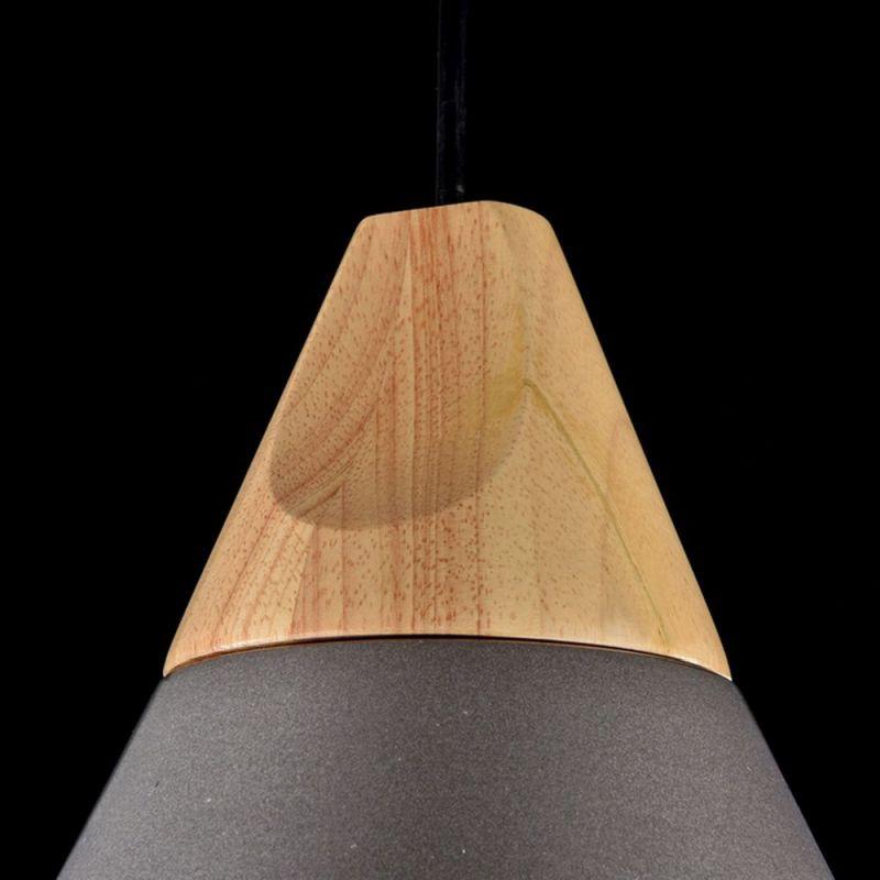Maytoni-P359-PL-220-C - Bicones - Medium Black Metal with Wood Single Hanging Pendant