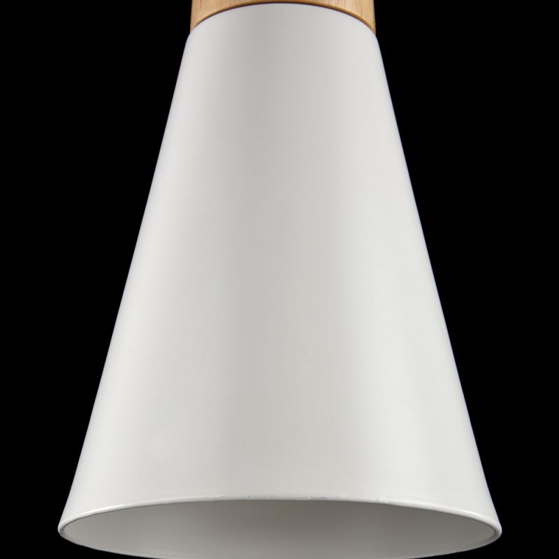 Maytoni-P359-PL-140-W - Bicones - Small White Metal with Wood Single Hanging Pendant