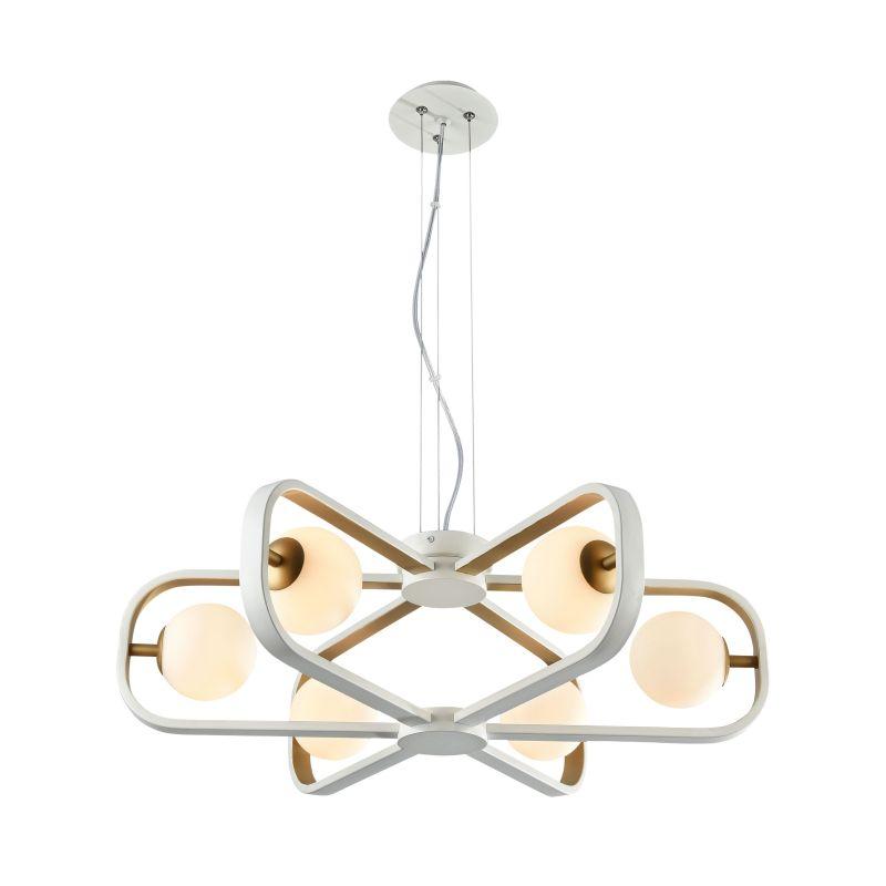 Maytoni-MOD431-PL-06-WG - Avola - Globe White with Gold 6 Light Pendant