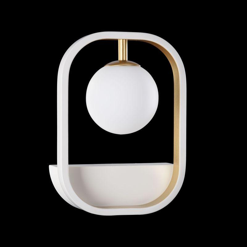 Maytoni-MOD431-WL-01-WG - Avola - Globe White with Gold Wall Lamp