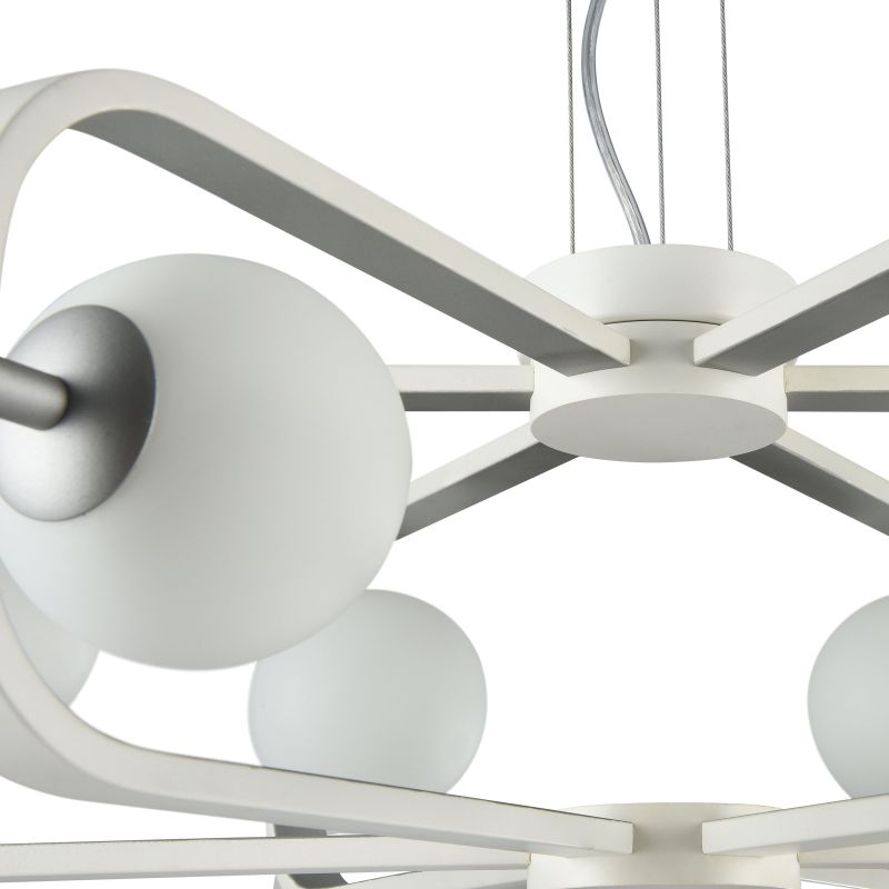 Maytoni-MOD431-PL-06-WS - Avola - Globe White with Silver 6 Light Pendant