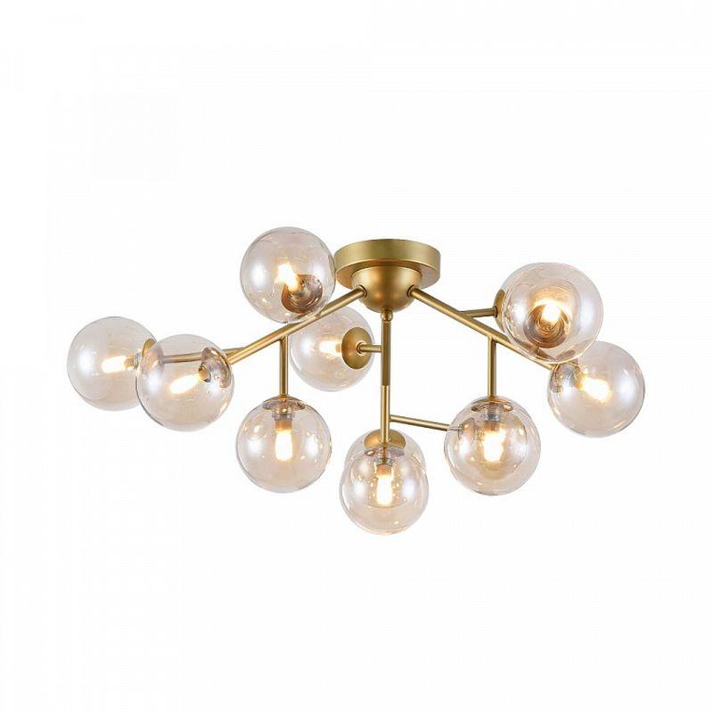 Maytoni-MOD545PL-12G - Dallas - Modern Amber Glass 12 Light Ceiling Lamp -Gold