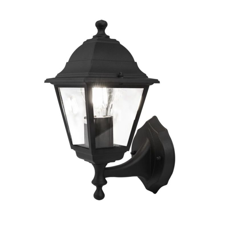 Maytoni-O004WL-01B - Abbey Road - Outdoor Black and Clear Glass Uplighter Wall Lamp