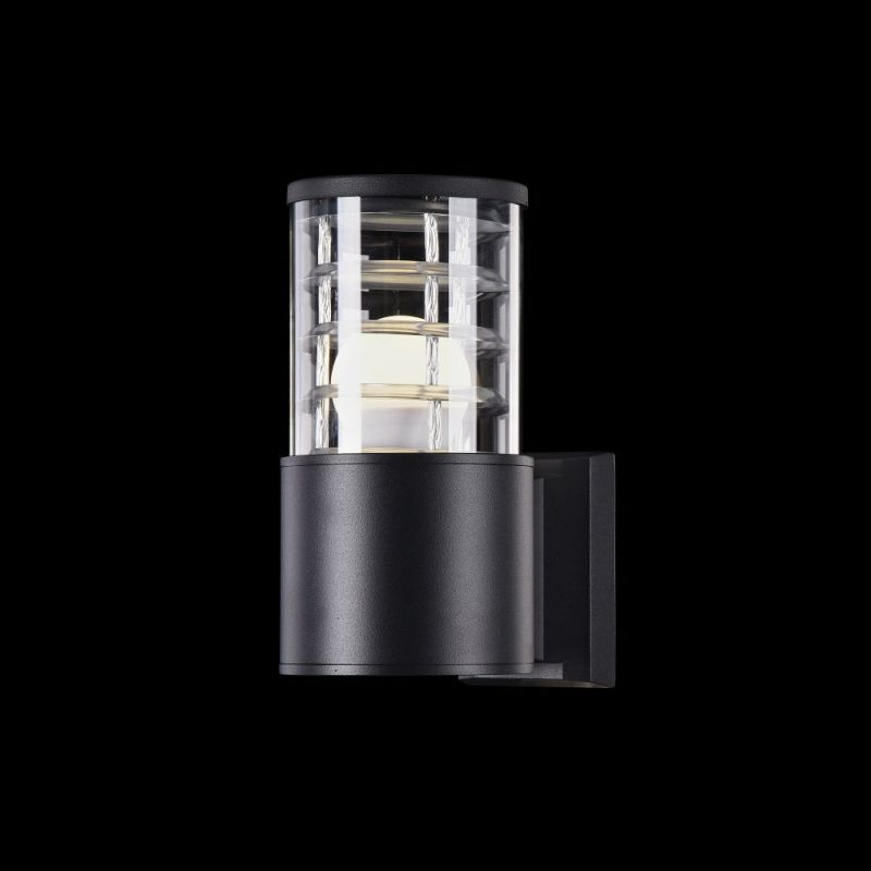Maytoni-O576WL-01B - Bronx - Outdoor Black & Clear Glass Single Wall Lamp