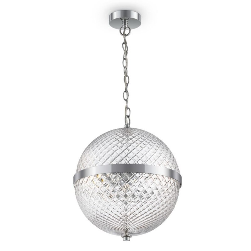 Maytoni-P004PL-02CH - Yonkers - Decorative Clear Globe & Chrome 2 Light Pendant