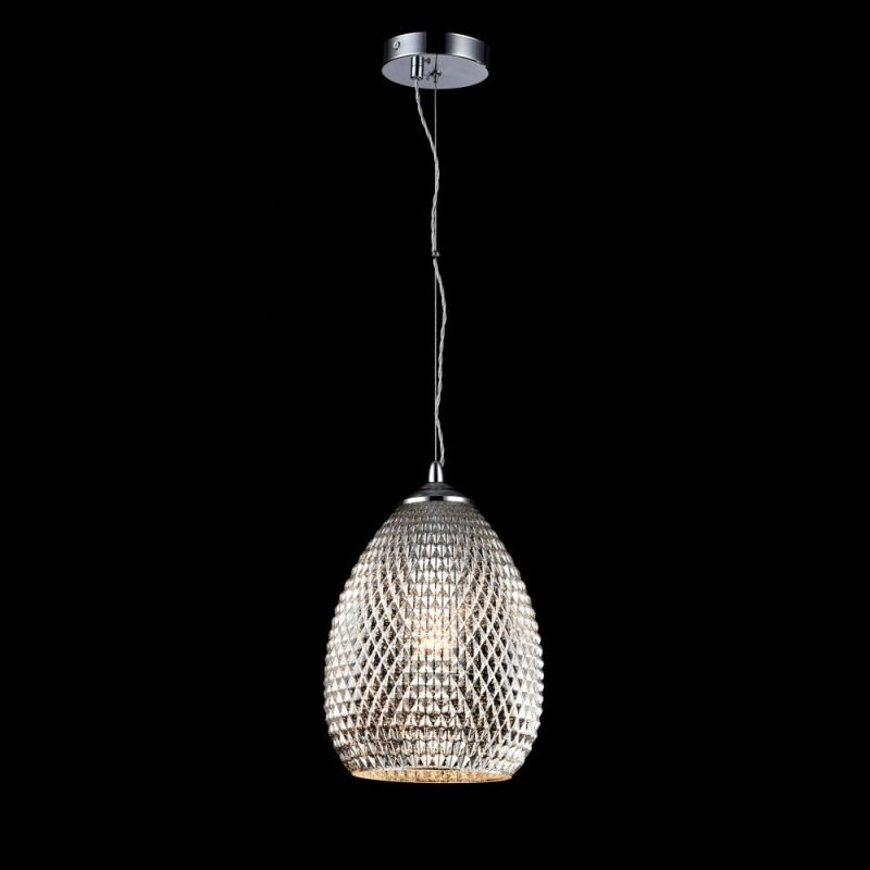Maytoni-P018-PL-01-N - Moreno - Silver Textured Glass Single Pendant