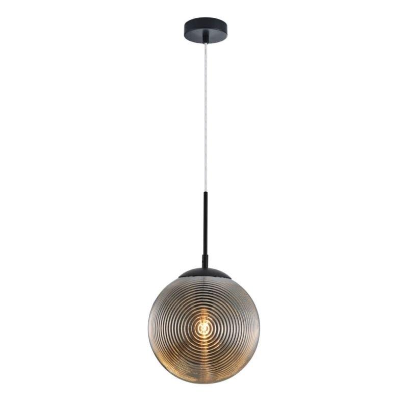 Maytoni-P031PL-01B - Lumina - Decorative Smoky Glass & Black Single Pendant