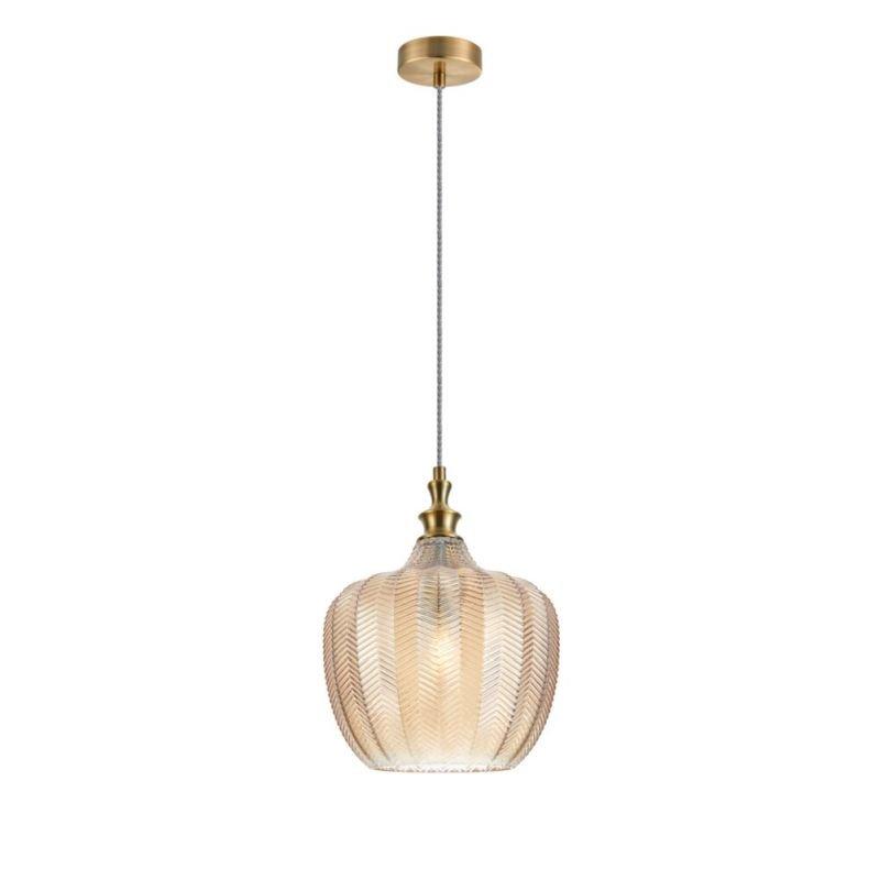 Maytoni-P032PL-01BS - Festa - Decorative Amber Glass & Antique Brass Pendant