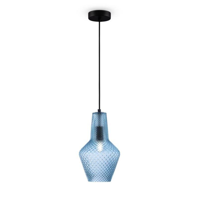 Maytoni-P045PL-01B - Tommy - Blue Textured Glass Big Pendant