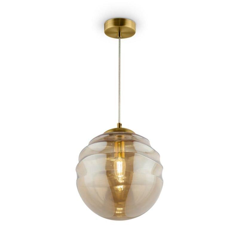 Maytoni-P074PL-01BS - Vinare - Amber Glass & Gold Single Pendant