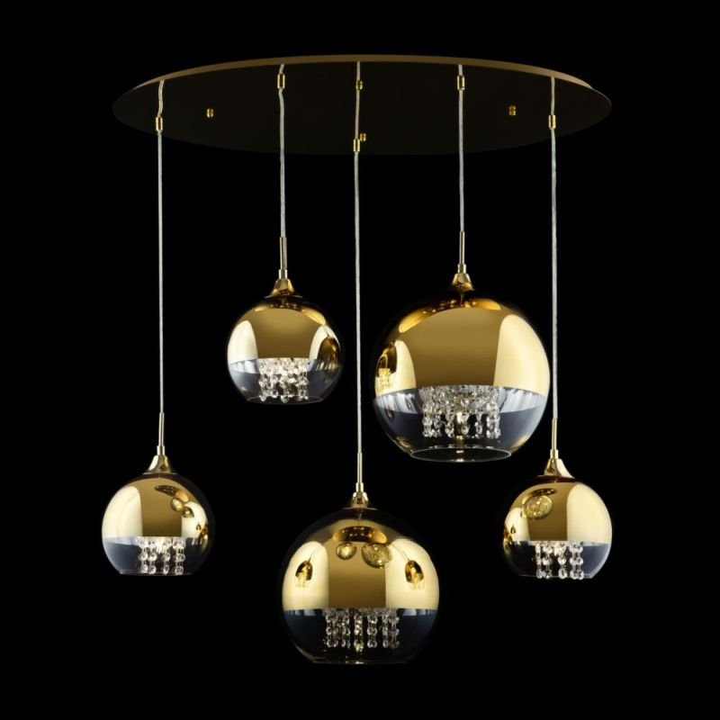 Maytoni-P140-PL-170-5-G - Fermi - Clear & Gold Glass with Crystal 5 Light Cluster