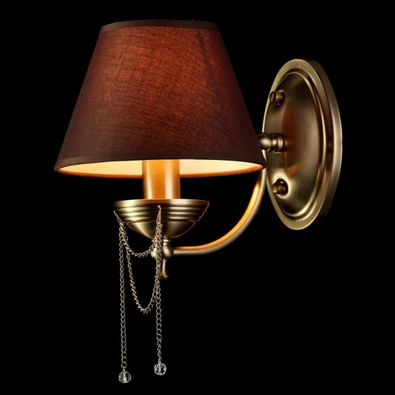 Maytoni-RC0100-WL-01-R - Chester - Brown Fabric Wall Lamp- Brass