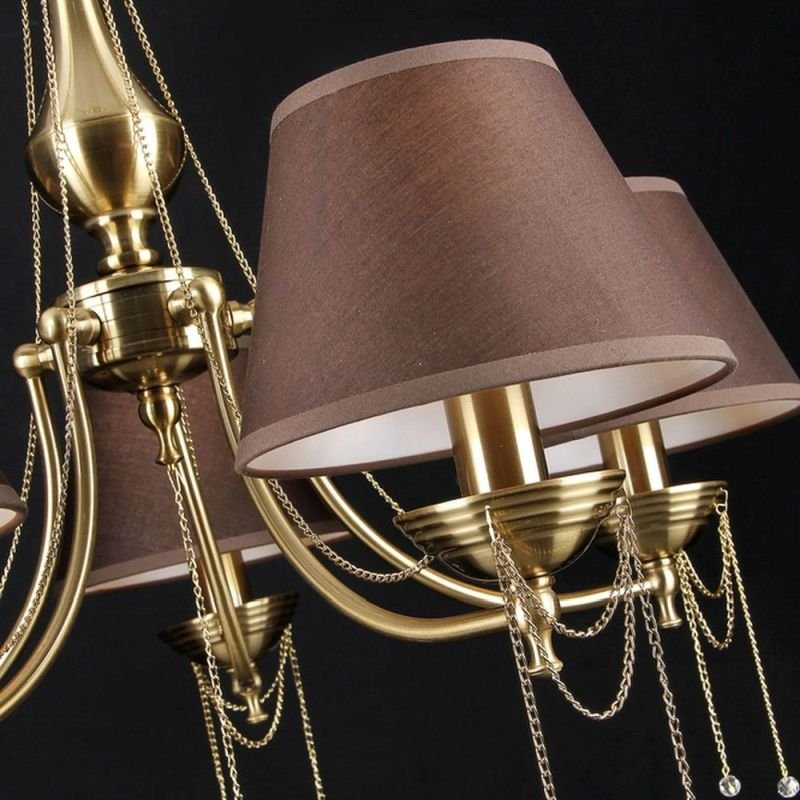 Maytoni-RC0100-PL-05-R - Chester - Brown Fabric 5 Light Centre Fitting - Brass