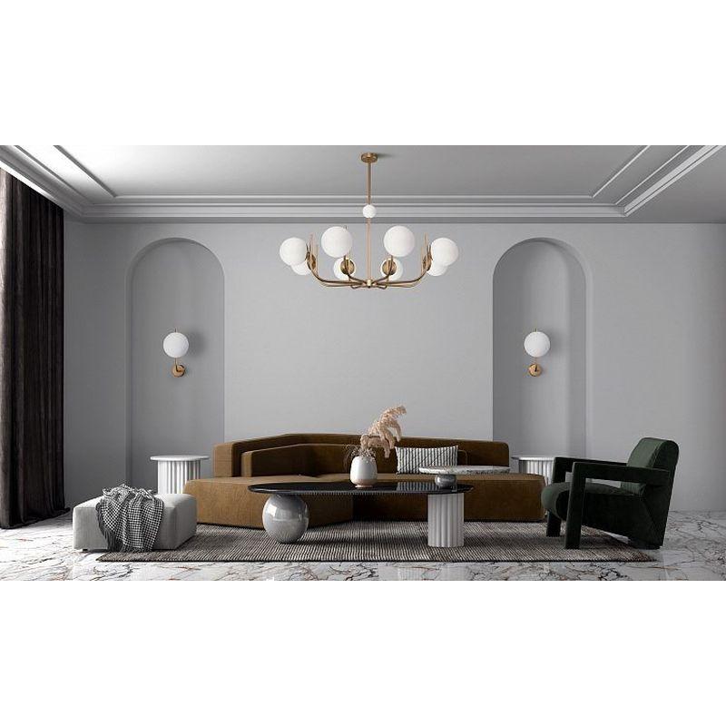 Maytoni-MOD109PL-10BS - Rendez-Vous - White Glass & Gold 10 Light Centre Fitting