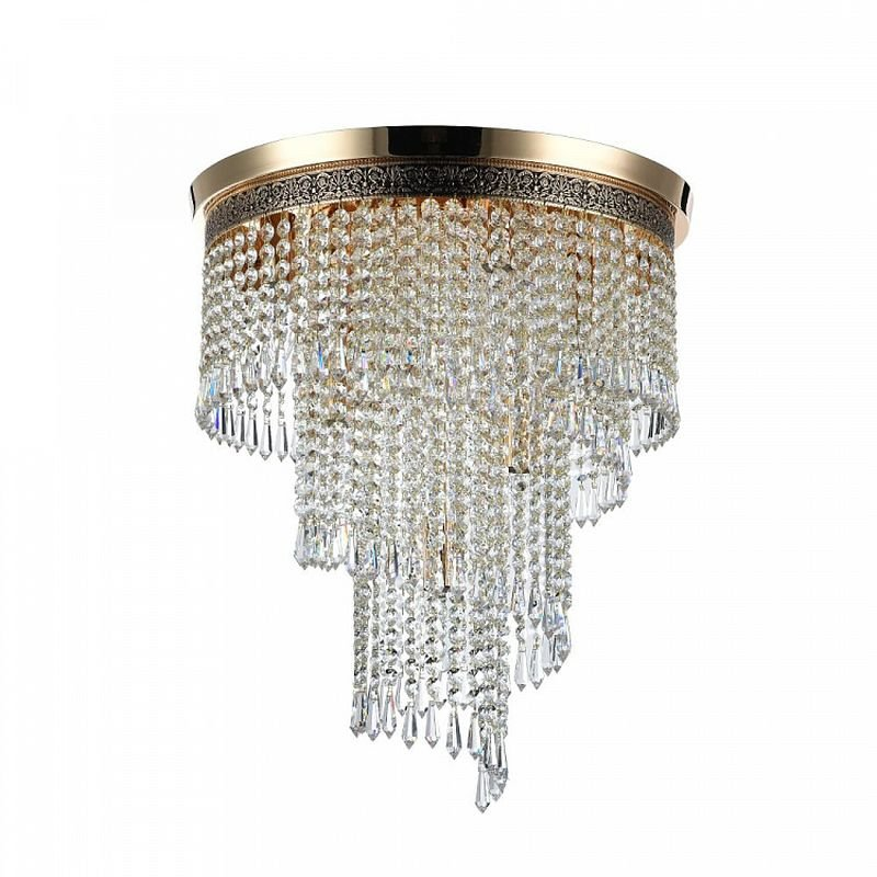 Maytoni-DIA522-CL-07-G - Cascade - Crystal 7 Light Ceiling Lamp -Gold Antique