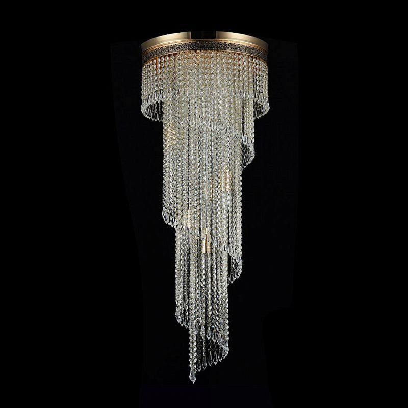 Maytoni-DIA522-CL-12-G - Cascade - Crystal 12 Light Ceiling Lamp -Gold Antique