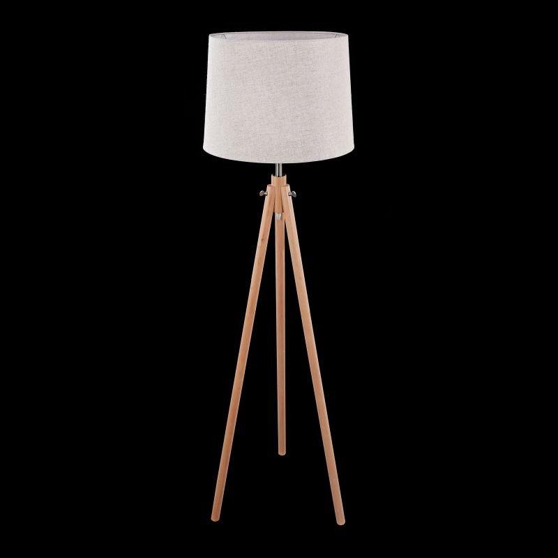 Maytoni-Z177-FL-01-BR - Calvin - Beige Cotton Tripod Floor Lamp -Wood