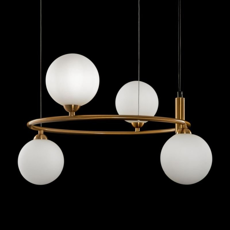 Maytoni-MOD013PL-04BS - Ring - White Glass Ball & Gold 4 Light Centre Fitting