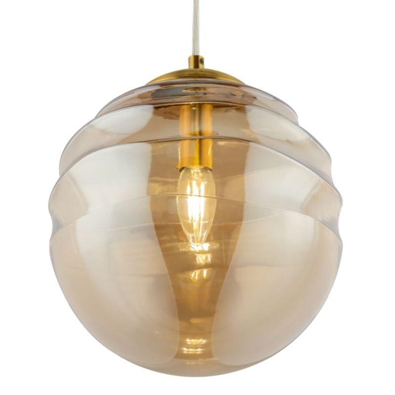 Maytoni-P074PL-03BS - Vinare - Amber Glass & Gold 3 Light Cluster Fitting