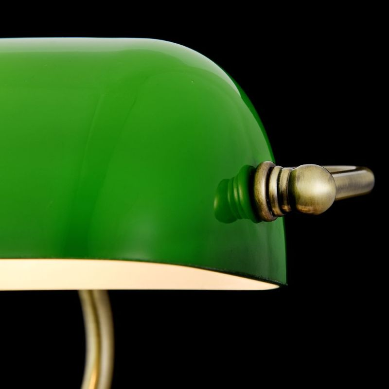 Maytoni-Z153-TL-01-BS - Kiwi - Green & Antique Brass Banker Desk Lamp