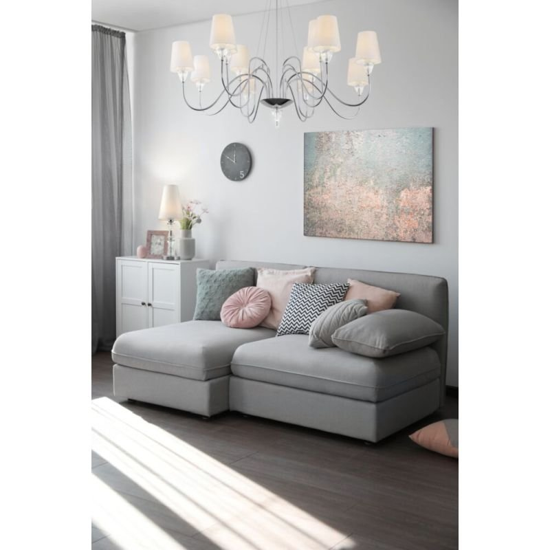 Maytoni-MOD078PL-09CH - Florero - White Fabric Shade & Chrome 9 Light Centre Fitting