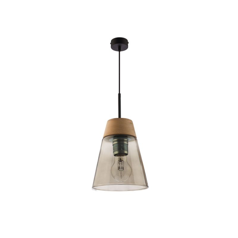 Prism-DM 1 DY | 1540 - Domino - Smoky Glass with Wood Single Hanging Pendant
