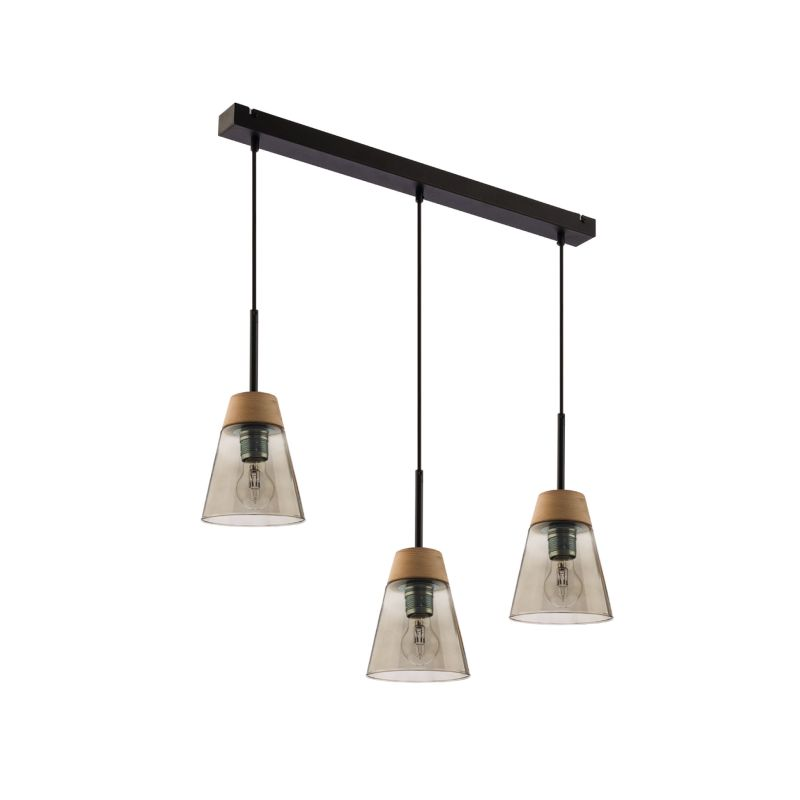 Prism-DM 3 DY | 1548 - Domino - Smoky Glass with Wood 3 Light over Island Fitting