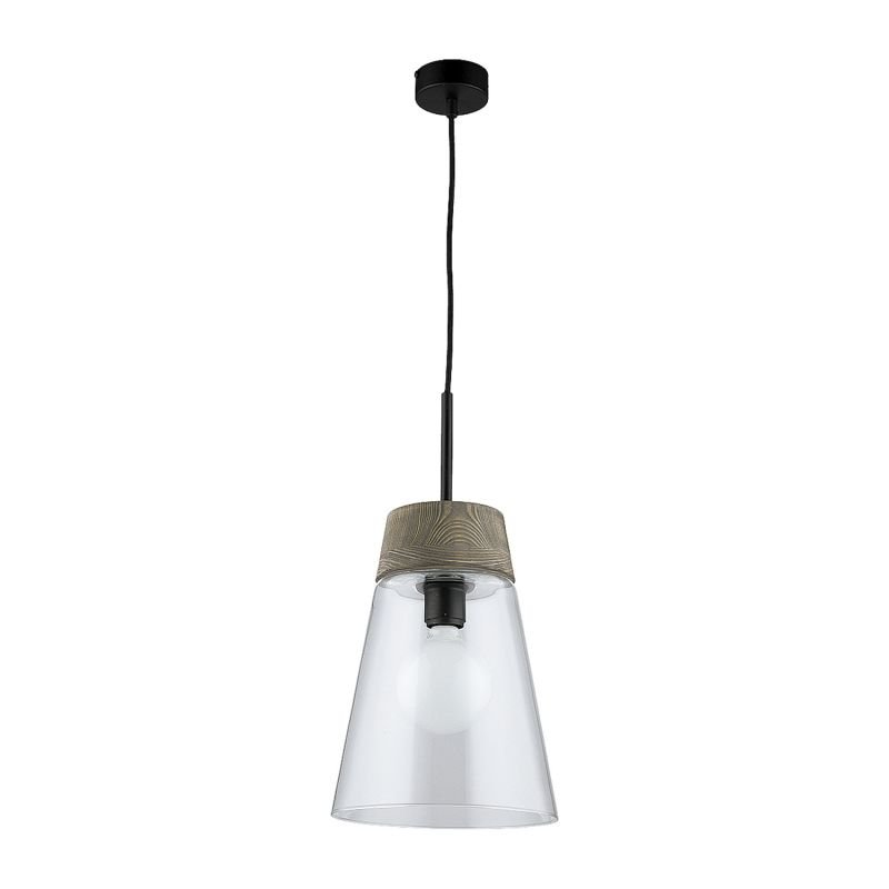 Prism-DM 1 A/TR | 1650 - Domino - Clear Glass with Dark Wood Single Hanging Pendant