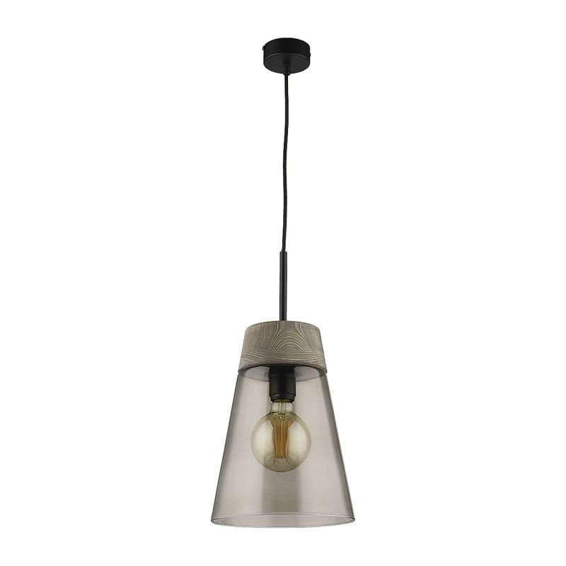 Prism-DM 1 A/DY | 1652 - Domino - Smoky Glass with Dark Wood Single Hanging Pendant