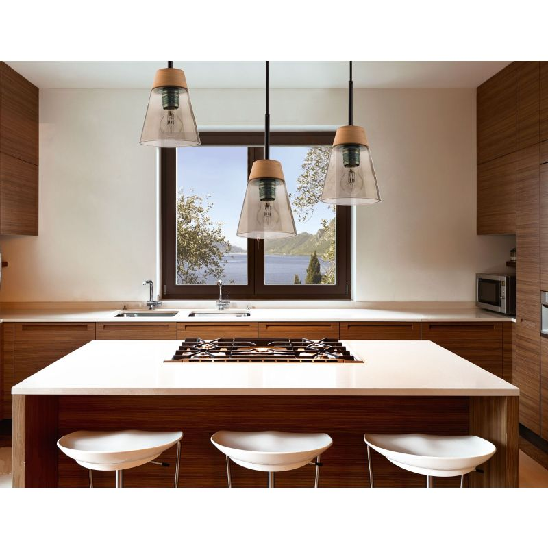 Prism-DM 3 MA | 1546 - Domino - Frosted Glass with Wood 3 Light over Island Fitting