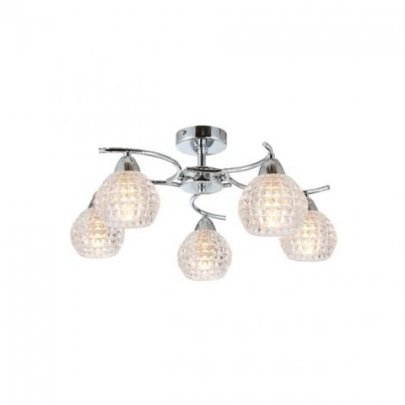 Prism-70070-052 - Crocus - Decorative Clear Glass with Chrome 5 Light Ceiling Lamp