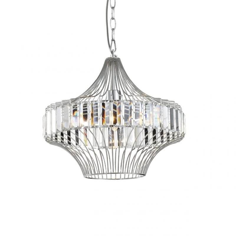 Prism-70030-052 - Bluebell - Chrome Cage with Crystal Rods Pendant